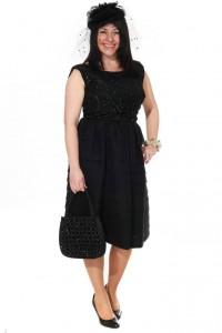 schwarzes Kleid mit paillettenbesetztem Oberteil 50er Jahren Gr. 40