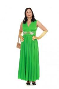 grünes, langes Kleid aus den 60ern mit Goldornamenten Gr. 38