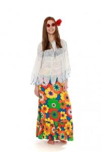 Blumenrock und Bluse mit Trompetenärmeln Gr. 36
