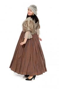 Kleid im Stil des holländischen Barock aus Seide mit Spitzenkragen Gr. 40/42
