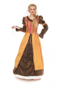 mittelalterliches Kleid aus gelber Seide und Mischfaser Gr. 38