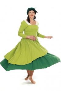 Kleid aus grüner, schwerer Baumwolle Gr. 38