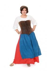 Marketenderin Gr. 40 roter Baumwollrock mit Schürze und Mieder aus Lederimitat