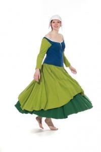 Kleid aus grüner, schwerer Baumwolle Gr. 40