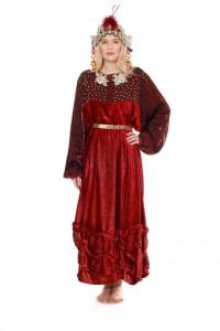rote Robe mit Goldornamenten und Perlen bestickt, Perlenhaube
