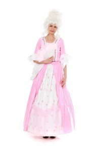 Barockkleid aus rosa Seide, zweiteilig Gr. 38/40