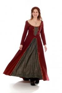 Mittelalterkleid aus dunkelroter Wolle