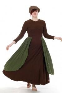 braunes Kleid mit grünem Überwurf Gr. 38/40