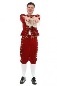 Barock, Gr. 52 Anzug aus rotem Samt mit Goldtresse