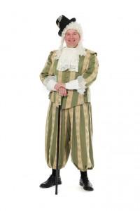 Barock, grüngestreifter Anzug, Jacke mit Schößchen und Dreiviertelhose Gr. 56