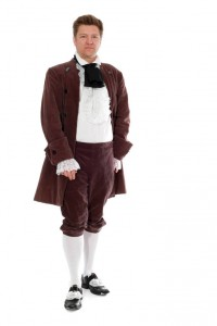 lilafarbener Cordanzug mit langer Jacke und Dreiviertelhose Gr. 52
