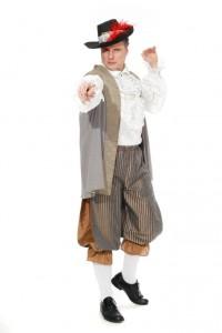 weißes Rüschenhemd, graue Weste, gestreifte Kniebundhose Gr. 52