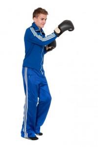 blauer Trainingsanzug 70er Jahre Boxhandschuhe