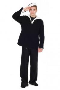 Blaue Wollhose mit geknöpftem Latz, blaues Marinehemd mit Kragen, weißes Matrosenhemd