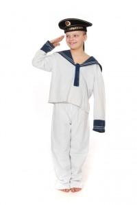 weißer Kinderanzug aus Baumwolle mit blauem Matrosenkragen