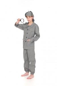 Glencheck Anzug für Kinder mit Sherlock Holmes Mütze