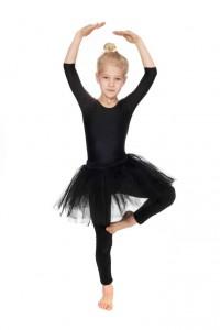 schwarzer Ballettanzug, Leggins, Tüllrock