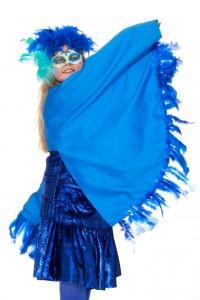 Flügelhemd in Universalgröße, blaues Glitzerkleid