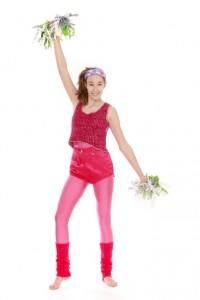 Aerobic Outfit: Jumpsuit Shorts und Accessoires