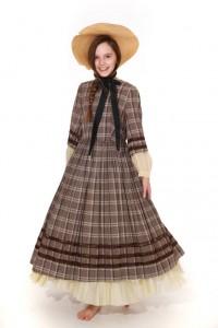 braun-kariertes Kleid mit voluminösem Unterrock