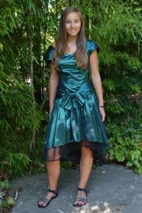 grünschillerndes 80er Jahre Kleid Gr. 38