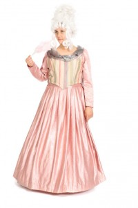 grau-rosa Miederkleid mit Reifrock Gr. 42