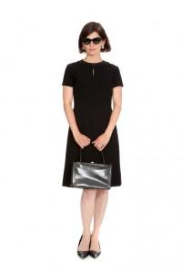 klassisches schwarzes Kleid mit Taschenapplikationen 60er Jahre, Gr. 36