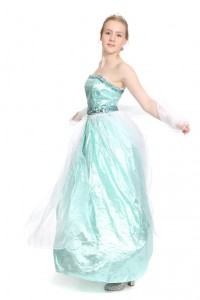 Türkises Kleid aus Metallicstoff, Pailettenapplikationen, Überrock aus Organza Gr. 36
