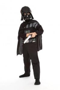 schwarzer Overall mit Umhang, Maske und Lichtschwert Gr. 122