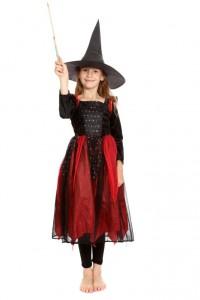 schwarz-rotes Kleid aus einem fetzigen Materialmix