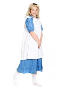 blaues Baumwollkleid mit weißer Schürze