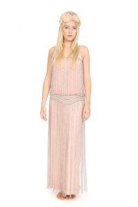 zartrosa Seidenkleid mit langen Perlenschnüren Gr. 36