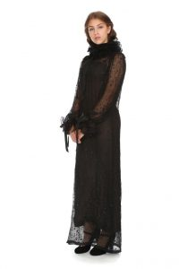 schwarzes Seidentüllkleid mit Unterkleid im Romantik-Look Gr. 36