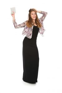 schwarzes Kleid Slimline mit Paillettenjacke