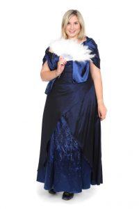 besticktes, mitternachtsblaues, langes Kleid