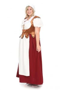 mittelalterliches rot-braunes Kleid mit Dirndlbluse Gr. 46