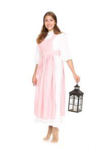 weißes Unterkleid mt rosa Kittelschürze Gr. 34
