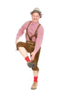 rehbraune Lederhose mit Geschirr Gr. 50, Trachtenhemd, Strümpfe und Haferlschuhe Gr 46