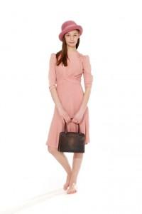 30er Jahre Kleid rosa Gr. 36