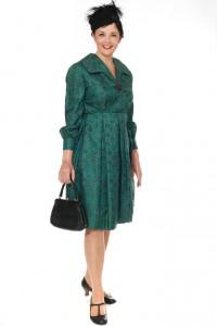 grünes Seidenkleid aus den frühen 50er Jahren Gr. 38