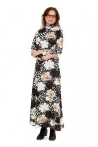 Nana Mouskouri: Blumenkleid aus Trevira Gr. 40