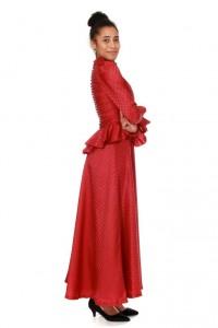 rotes Kleid mit Schößchen und Knopfleiste