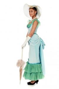 hellblaues Kostüm zweiteilig mit Cul de Paris