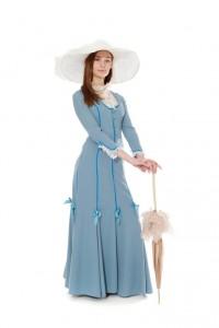 schmales hellblaues Kleid mit Godets aus der Jahrhundertwende Gr. 34