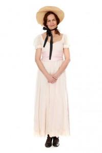 Jane Austen - rosafarbenes Empirekleid mit Schutenhut