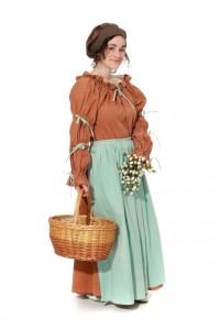 braunes Baumwollkleid mit türkisfarbener Schürze, Kurzgöße