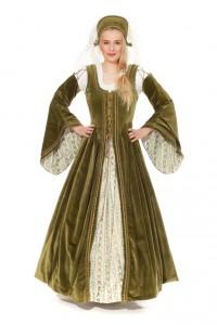 langes, grünes Samtkleid zum Schnüren mit Schleppärmeln und Tudorhaube, Gr. 36 -42