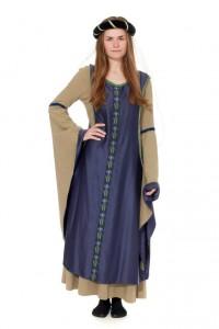 mittelalterliches Leinenkleid mit gefütterten Schleppärmel zum abknöpfen und blauer Surcotte Gr. 36/38