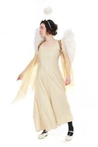 Engel: weißes mit Goldfäden durchwirktes Kleid Organzaärmel Gr. 36