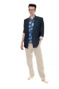 80er Jahre Leinenhose, Hawaiihemd, blauer Zweireiher